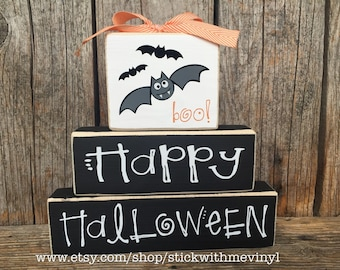 HALLoWEEN sign, halloween bats sign, happy halloween sign, wood blocks, Halloween blocks, Halloween decoration, fall sign, halloween decor,