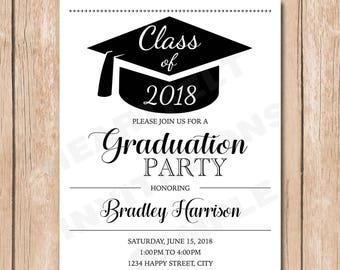 Graduation Party Invitation | Graduate, Hat, Cap, Customize Color