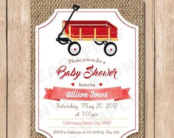 Red Wagon Baby Shower Invitation   Boy, Vintage, Burlap, Toy - 1.00 each printed