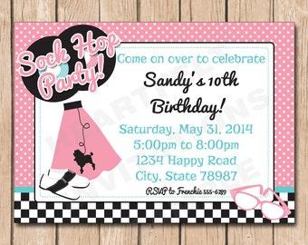 Sock Hop Invitation Etsy