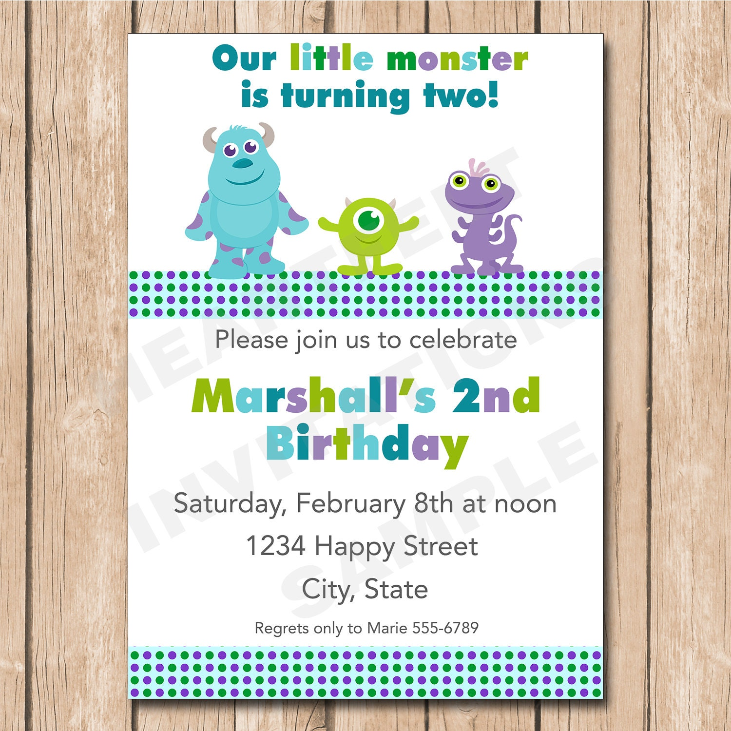 Mini Monsters Inc. Birthday Invitation Sulley Mike Randal | Etsy
