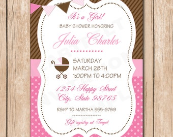 Shabby Chic Girl Baby Shower Invitation | Bunting flag, Carriage - 1.00 each printed