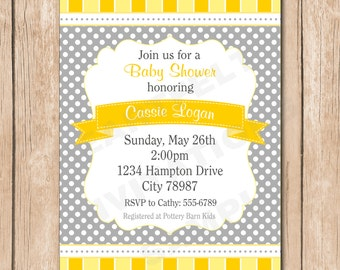 Shabby Chic Baby Shower Invitation | Neutral, Polka dot, Yellow - PICK Your Favorite Color - 1.00 each printed