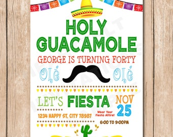 Birthday Party Invitation | Fiesta Celebration, Mexican Hat, Mustache - 1.00 each printed