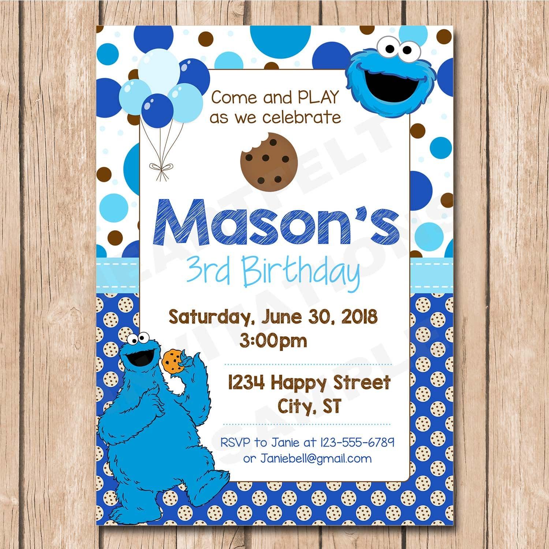 Cookie Monster Birthday Invitation Balloons Sesame Polka | Etsy