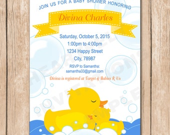 Mommy and Baby Ducky Baby Shower   Boy or Girl, Neutral - 1.00 each printed