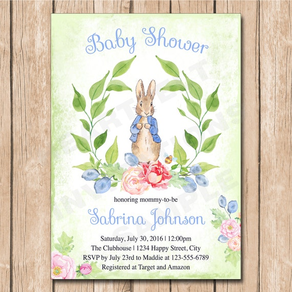 Peter Rabbit Baby Shower Invitation Floral Neutral Etsy