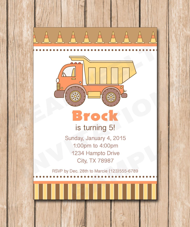 Construction Dump Truck Birthday Invitation Boy 1.00 each | Etsy