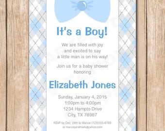 Little Man Baby Shower Invitation | Boy, Bow Tie, Suspenders - 1.00 each printed