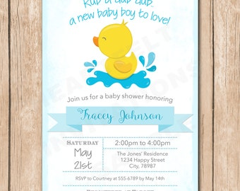 Ducky Baby Shower Invitation   Gender Neutral, Rub a Dub, Rubber Duck - 1.00 each printed
