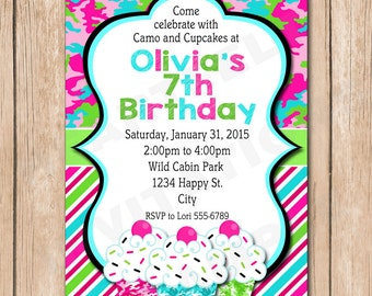 Camouflage and Cupcakes Birthday Invitation | Girl Camo - 1.00 each printed