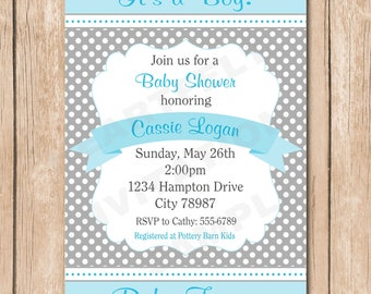 Shabby Chic Boy Baby Shower Invitation | Grey, Blue, Green - PICK Your Favorite Color - 1.00 each printed