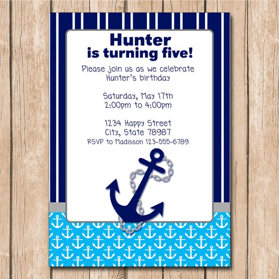 Boy Nautical Birthday Invitation