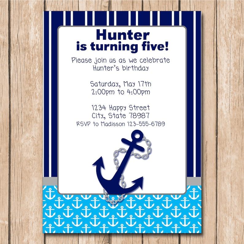 Boy Nautical Birthday Invitation Anchor Sailor Navy 100