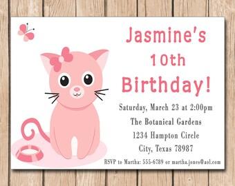 Kitty Cat Birthday Invitation - 1.00 each printed