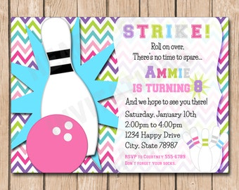 Bowling Birthday Invitation | Girl - 1.00 each printed