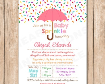 Sweet Girl Sprinkle Baby Shower Invitation   Ice Cream, Donut, Candy Sprinkles - 1.00 each printed