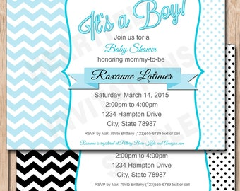 Black and White Baby Shower Invitation | Chevron and Polka Dots, Boy or Girl, Any Color - 1.00 each printed