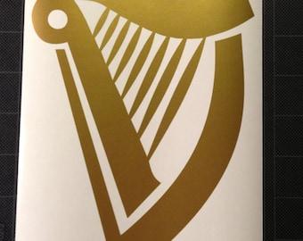 Harp Golden Vinyl Decal Sticker Guinness FREE SHIPPING