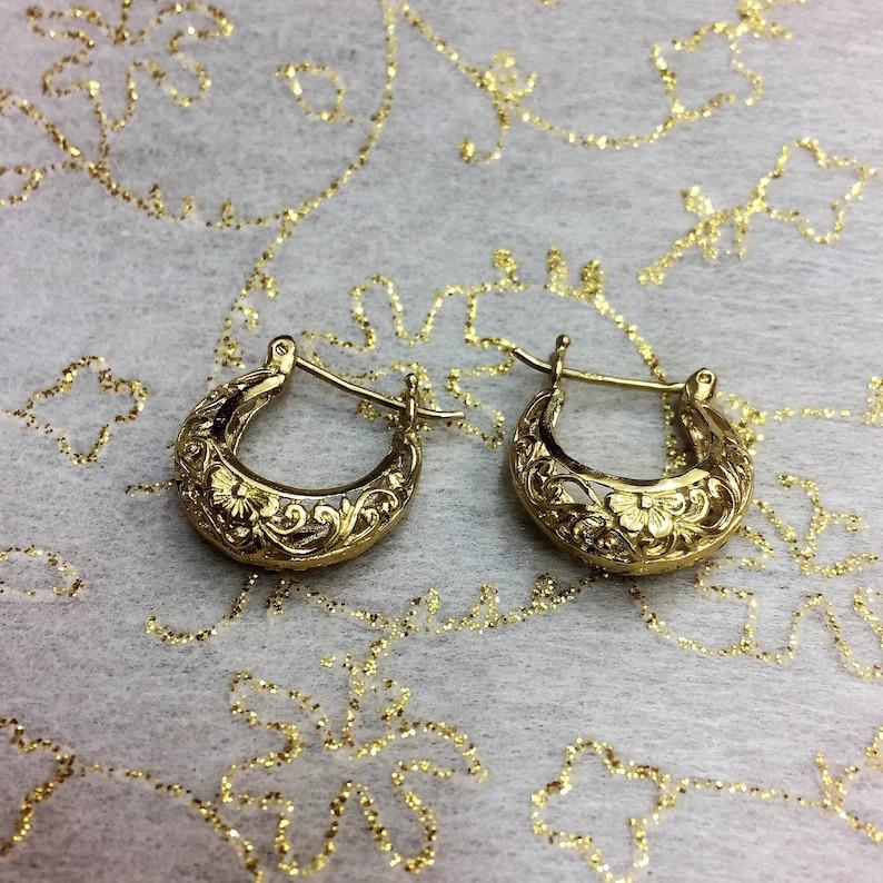 618b6fa772b84 Gold Floral Hoop Earrings, Filigree Gold Earrings, 14k Gold Hoops