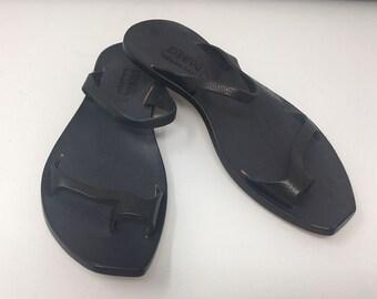 351dcf34c70c CYDWOQ Architectural Design Shoes Sandals Black Leather Flats Size EU 38  1 2 38.5 US 7.5 Simple lines