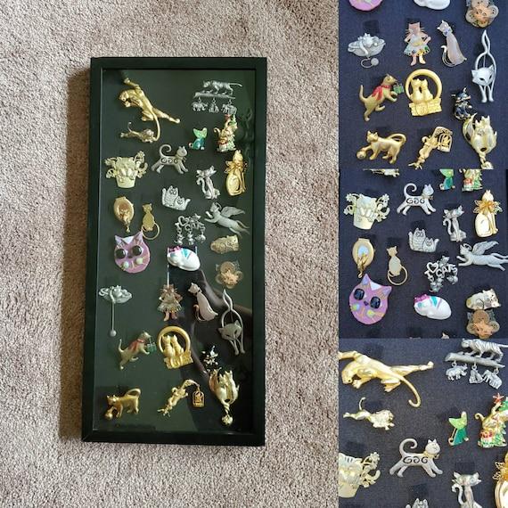 Vintage shirt pin wall decor - cat pin