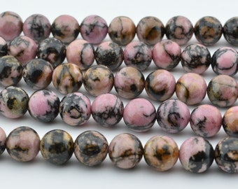 "15.5""  Pink and Black  Rhodonite  Round  Beads Gem   8MM"