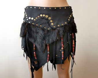 Bondage fetish kinky burning man festival fashion spiked Studded Dream Warriors black leather lace up branipple pastiesbikini top