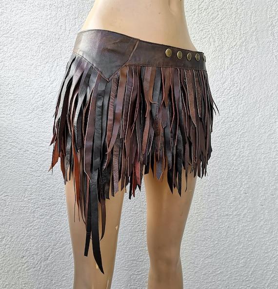 Post apocalyptic tribal fusion wear burning man festival fashion Dream Warriors black leather slashed fringe tassel wrapbustle mini skirt