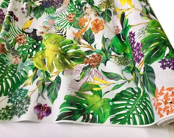 Tropical Toucan Bird Fabric Curtain Upholstery Cotton Material Etsy