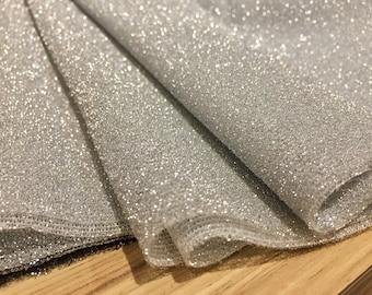 a6085c35e70 Lightweight Metallic Lurex Fabric Stretch Jersey Material - Sparkling  Silver Glitter - 150cm wide