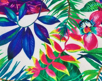 Tropical Flower Orchid Fabric Curtain Upholstery Cotton Etsy