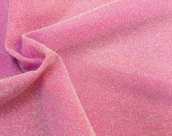 29bb2270ba1 Lightweight Metallic Lurex Fabric Stretch Jersey Material - Sparkling Pink  Glitter - 150cm wide