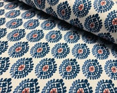 Floral Aztec Spanish Geometric Diamond Flower Tile Fabric Cotton Panama Curtain Upholstery Material - 55 quot 140cm wide - Blue Red