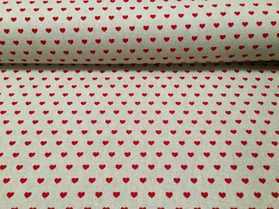 Blue Gingham Check and Red Heart Fabric 100/% Cotton Material.
