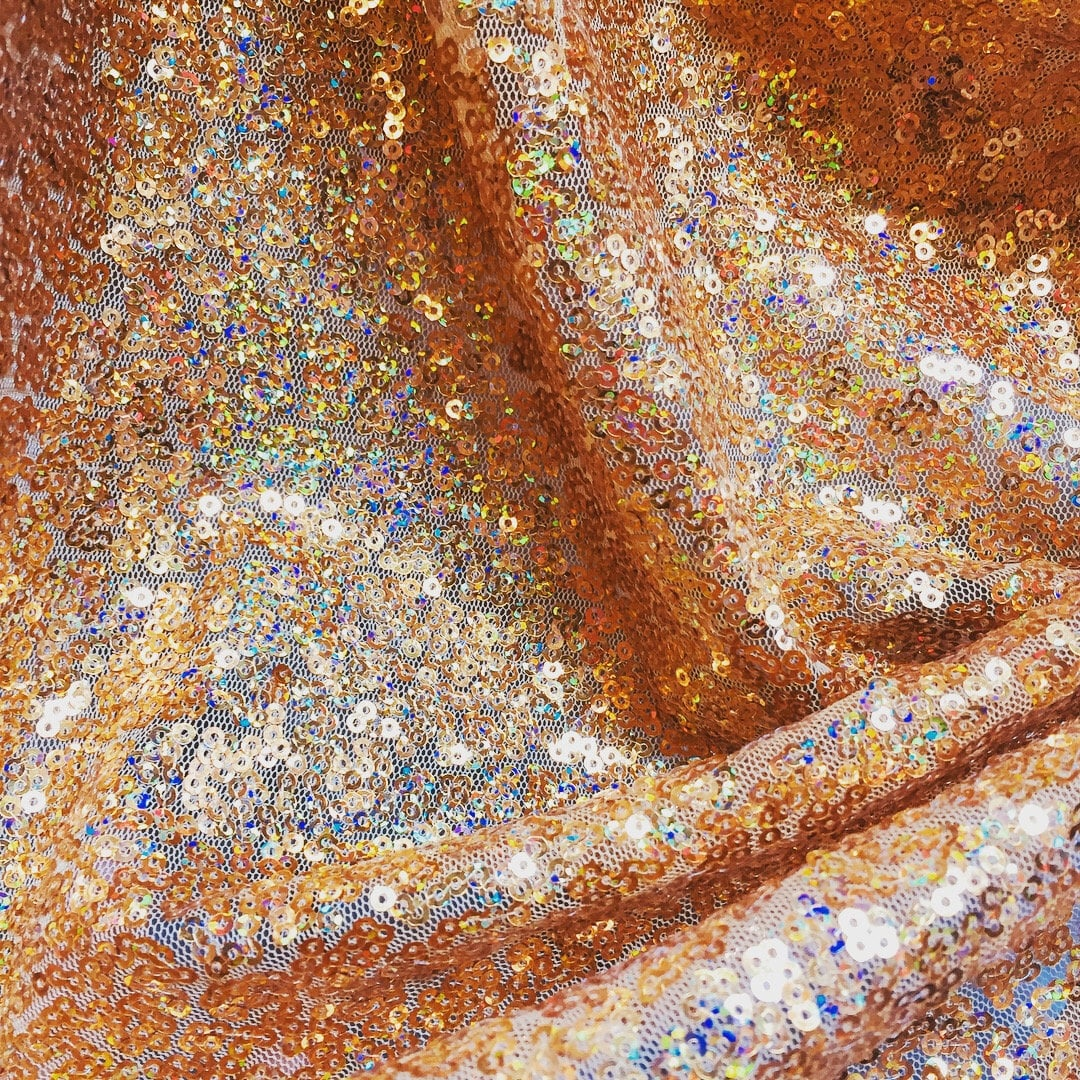 IRIDESCENT GOLD Glitter Sequin Fabric Material 20 Way Stretch   Etsy