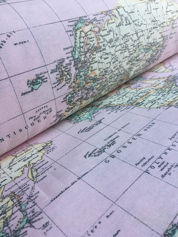 World Map Print Fabric.Retro World Map Light Pink Designer Curtain Upholstery Cotton Etsy