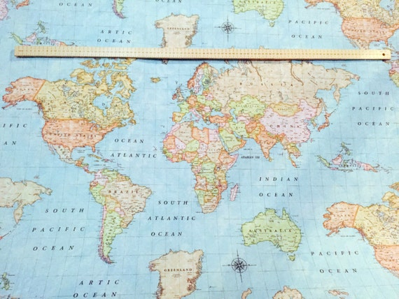 World map sky blue 3 designer fabric curtains upholstery dress etsy gumiabroncs Images