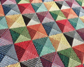 """Rhombus Squares Pyramids Woven Gobelin Fabric Material for Curtains Upholstery - 55""""/140cm Wide - Multicolored Squares Geometric Pattern"""