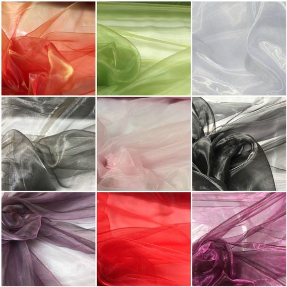 8 COLOURS PLAIN ORGANZA FABRIC SOLD BY THE METER