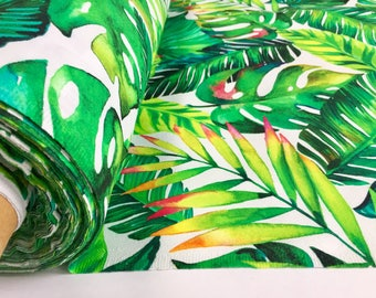 Banana Leaves Tropical Palm Leaf Print Cotton Fabric for Curtain Upholstery Material / digital print fabric / 140cm wide