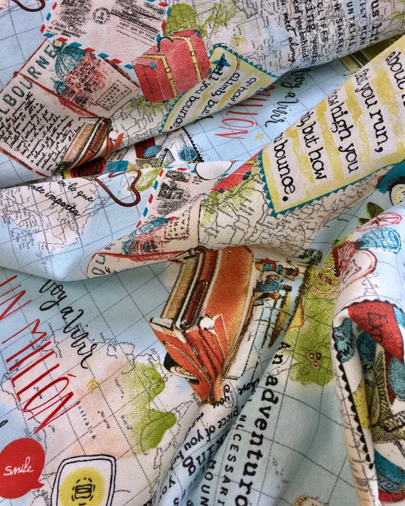 World Map Print Fabric.Travel Bon Voyage Vintage World Map Designer Fabric For Etsy