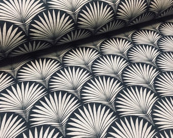 Art Deco Geometric Damask Floral Fan Fabric Monochrome Fountain Leaf - Curtain Upholstery Home decor  - 140cm Wide - Black and Grey