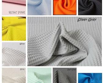 Cotton WAFFLE Pique Honeycombe Fabric Material - 150cm wide /Ecru, Cream, Rose Pink, White, Blue, Green Mint, Grey, Mustard