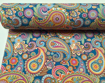 """BLUE PAISLEY Designer Fabric for Curtain Upholstery cotton material floral paisley print canvas - 55"""" wide"""