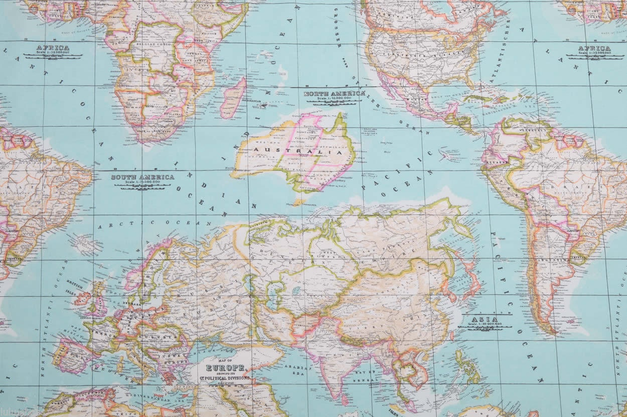 World map 2 designer curtain upholstery cotton fabric material 55 991 gumiabroncs Image collections