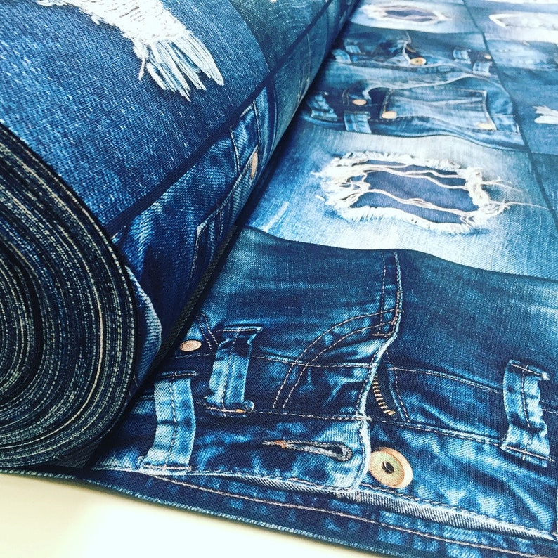 Jeans 140cm Dekostoff 100/% Baumwolle Digital Druck