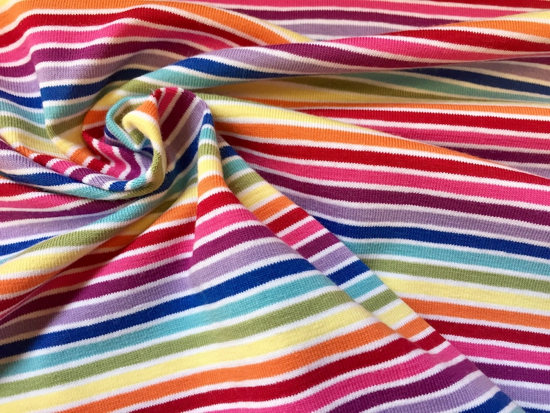 9b9bd936492 MULTI STRIPE White Rainbow Jersey Knit Elastane 4 Way | Etsy