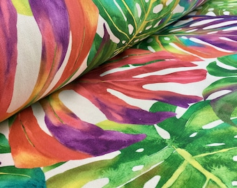PALM TROPICAL LEAVES Cotton Fabric Palm Leaf Material for Curtains Upholstery -  140cm wide - Red pink, purple, green