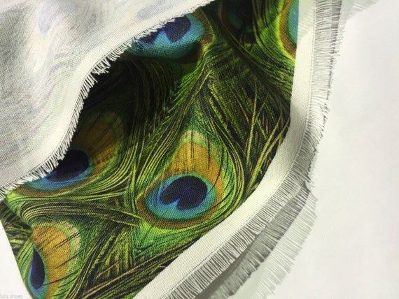 Peacock Feathers Curtain Upholstery Cotton Fabric Material 140cm